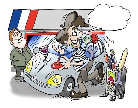 satirical: A French man repairs the car