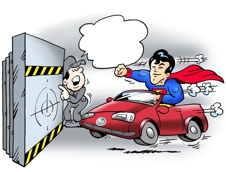 satire: A steel man testing the car