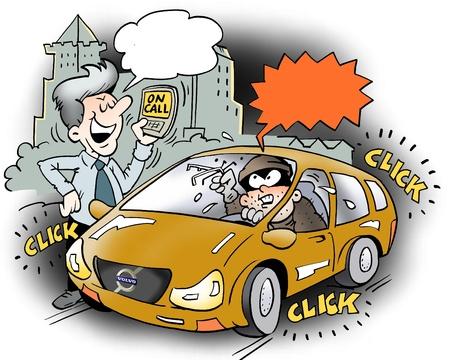 robo de autos: El propietario de un coche con un dispositivo de bloqueo inteligente para su coche