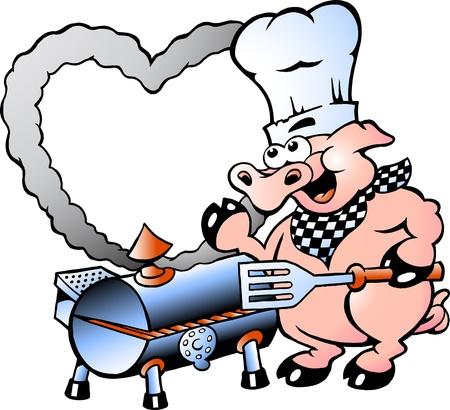 흡연자: 요리사 돼지 바베큐를 만드는 손으로 그린 벡터 일러스트 레이 션 일러스트