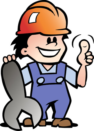 Hand-drawn illustration of an Happy Mechanic or Handyman Vector