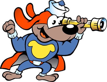 super dog: Hand-drawn illustration of an Happy Hero Sailor Watch Dog Illustration