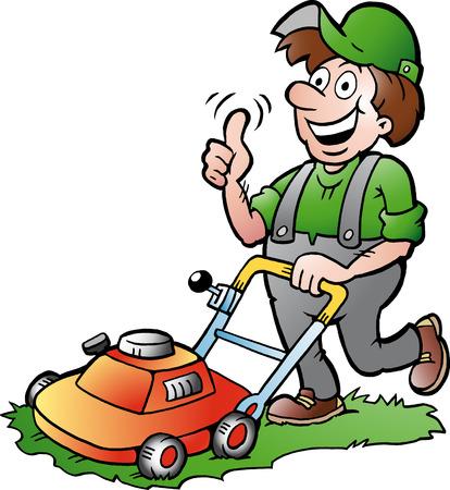 Hand getekende illustratie van een gelukkige Tuinman met zijn grasmaaier