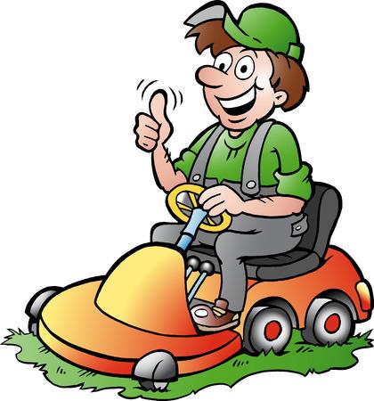 Hand-drawn illustration of an happy Gardener riding his lawnmower