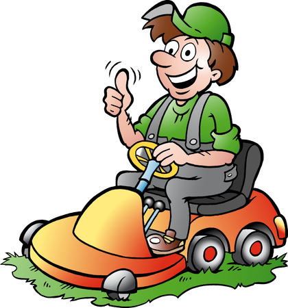 Illustrazione disegnata a mano di un giardiniere felice in sella alla sua tosaerba
