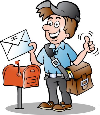 幸せな郵便配達の手描きイラスト