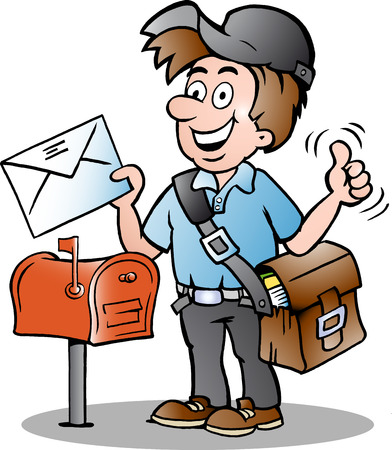 Hand-drawn illustration of an Happy Postman Vector