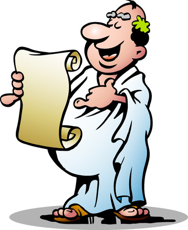 Hand getekende illustratie van een gelukkige Griekse priester Stock Illustratie