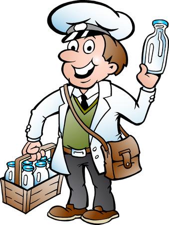 latte fresco: Illustrazione disegnata a mano di un felice lattaio Vettoriali