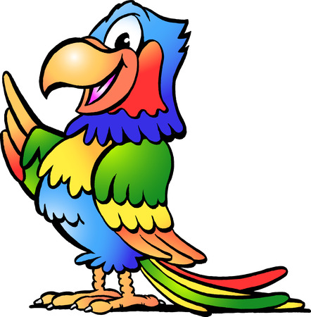 ara: Hand-drawn illustration of an Happy Colorful Parrot