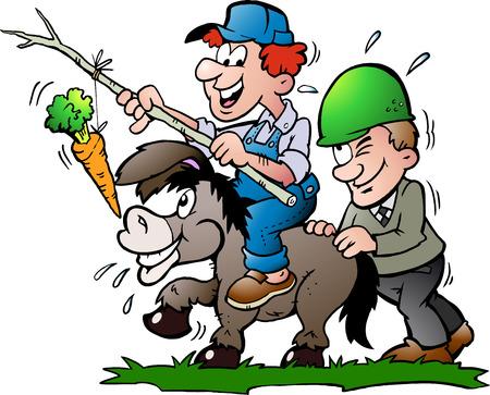 supervisores: Ilustración del vector dibujado a mano de un supervisor empuja un burro