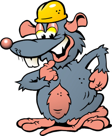 degrade: Hand-drawn Vector illustration of an Happy Smiling Rat with yellow Helmet Illustration