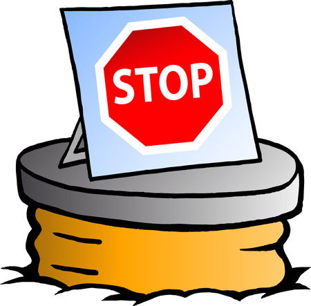 drainage: Hand-drawn Vector illustration of an Sewer with a Stop sign Illustration