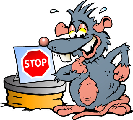 intimidate: Hand-drawn Vector illustration of  an scared Rat standing in front  of Sewer with a Stop sign Illustration