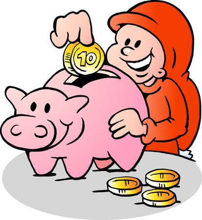 goblin: Hand-drawn Vector illustration of an Happy Christmas Elf put money into the Piggy Bank
