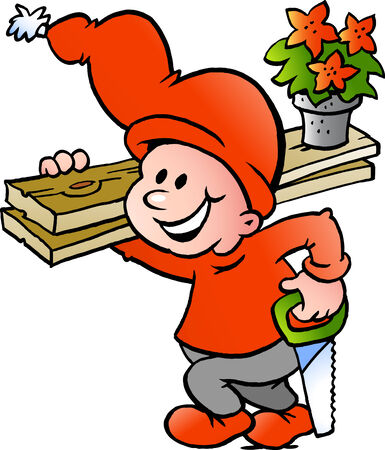 Hand-drawn Vector illustration of an Happy Christmas Elf going to Work Vector