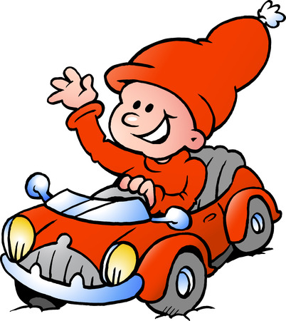 Hand-drawn Vector illustration of an Happy Christmas Elf driving in a red Sports Car