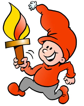 Hand-drawn Vector illustration of an Happy Christmas Elf running with a torch flame Vector