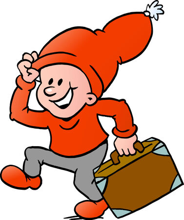 Hand-drawn Vector illustration of an Happy Christmas Elf running with a suitcase Çizim