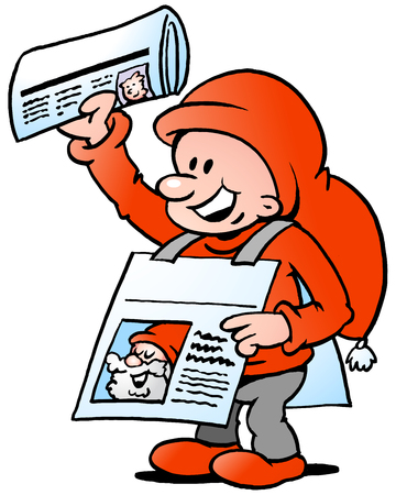Hand-drawn Vector illustration of an Happy Christmas Elf  with News Paper Illustration