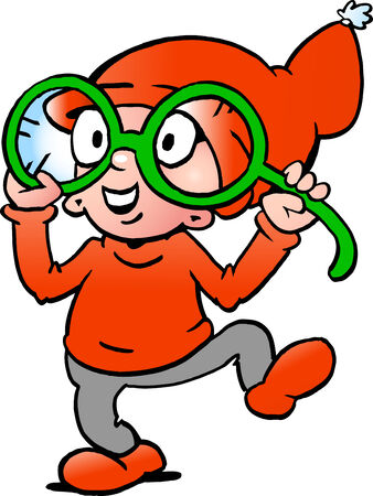 Hand-drawn Vector illustration of an Happy Christmas Elf  with big green glasses Vector