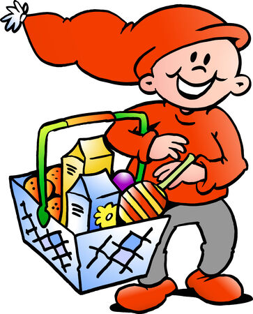 Hand-drawn Vector illustration of an Happy Christmas Elf  with a shopping basket Vector