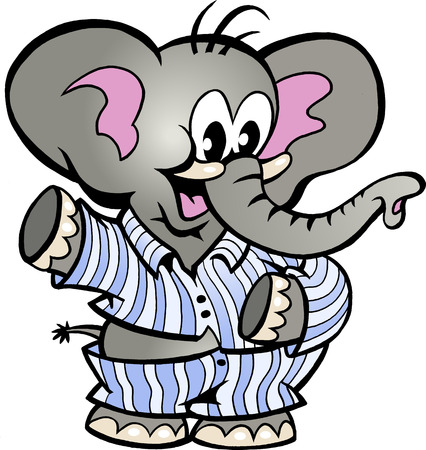 Hand-drawn Vector illustration of an Happy Baby Elephant in Pajamas Illustration