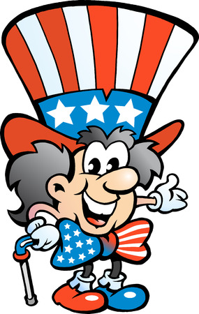Hand-drawn Vector illustration of an Old Happy Uncle Sam Vector