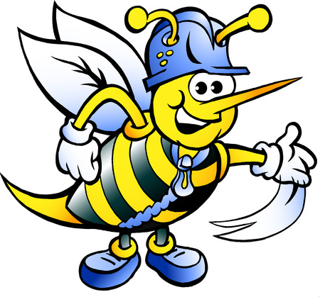 working animals: Hand-drawn Vector illustration of an Happy Working Bee
