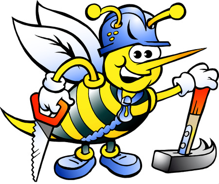 Hand-drawn Vector illustration of an Happy Working Carpenter Bee Vectores