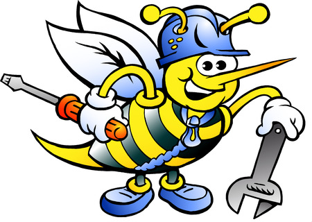 screw driver: Hand-drawn Vector illustration of an Happy Working Bee Holding Wrench and Screw Driver