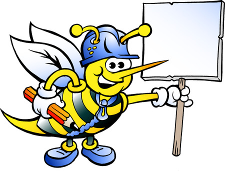 Hand-drawn Vector illustration of an Happy Working Bee Holding a Sign Çizim