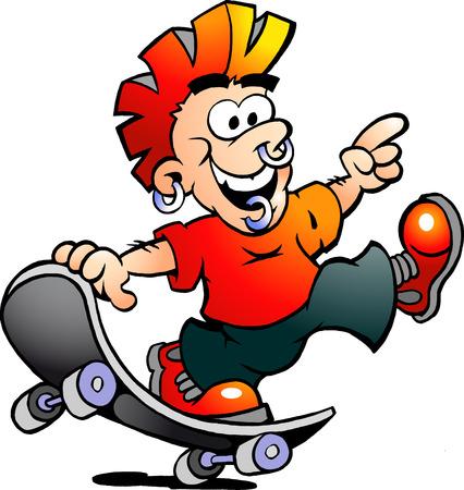 skater boy: Hand-drawn Vector illustration of an Happy Cool Skater Boy