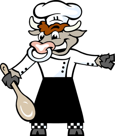 Hand-drawn Vector illustration of an Happy Bull Chef standing and welcome with a spoon in his hove Vector