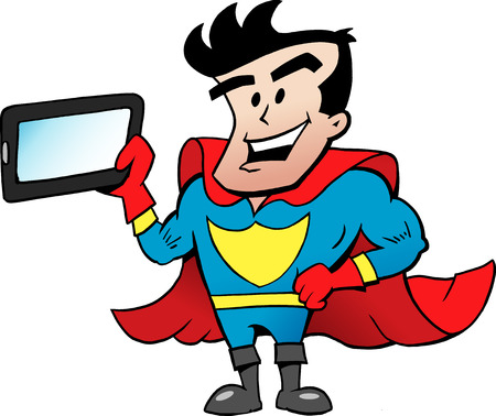 caricature: Vector Cartoon illustration of an Super Hero with a Tablet