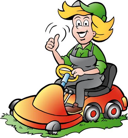 lawnmower: Vector Cartoon illustration of a Handy Gardener Woman riding on a Lawnmower
