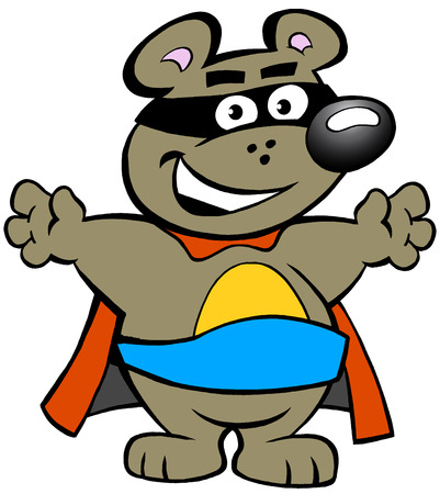 streaking: Vector illustration of an Happy Strong Super Hero Bear