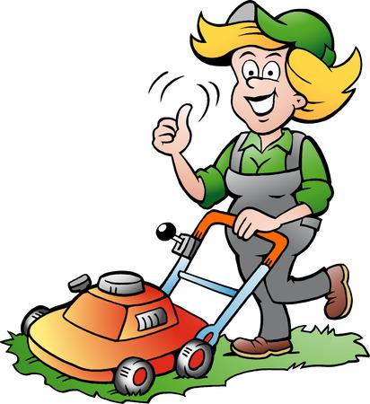 lawnmower: Vector Cartoon illustration of a Handy Gardener Woman with a Lawnmower