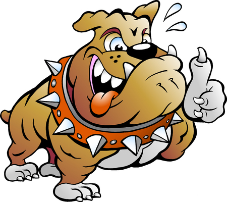 exited: Vector Cartoon illustration of an excited Strong Muscular Bull Dog giving Thumb Up