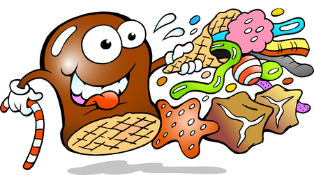 Vector Cartoon illustration of a Cream Puff holding a cone with a choice of delicious Candies Vectores