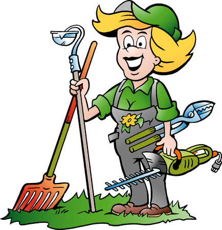 Vector Cartoon illustration of a Handy Gardener Woman standing with he Garden Tools Ilustracja
