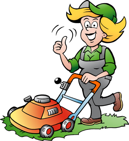 Vector Cartoon illustration of a Handy Gardener Woman with a Lawnmower