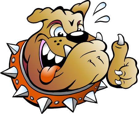 exited: Vector Cartoon illustration of an excited Bull Dog giving Thumb Up