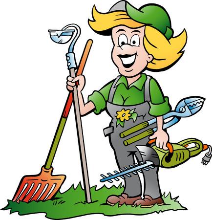 jardinero: Ilustración vectorial de dibujos animados de un práctico Jardinero Mujer de pie con él Herramientas de jardín
