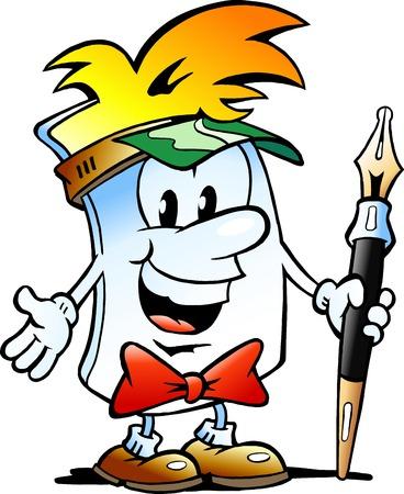editor: Vector Cartoon illustration of a Happy Editor Paper Mascot Illustration