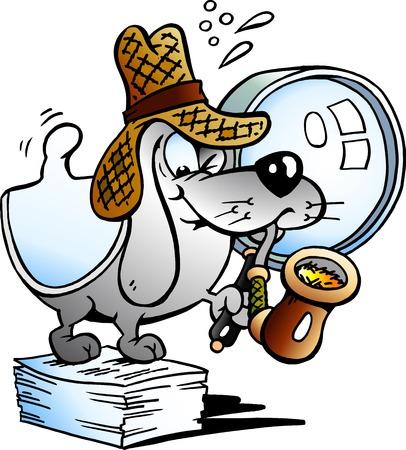 detective: Vector illustration of a Paper Dog Detective Mascot Illustration