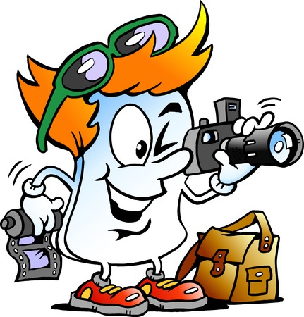 editor: Vector Cartoon illustration of a Happy Editor Paper Photographer Mascot Illustration