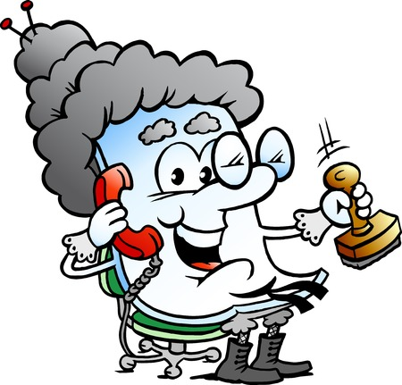 old telephone: Vector Cartoon illustration of a Cute Grandma Paper Mascot Illustration