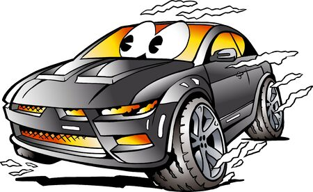 horsepower: Vector Cartoon illustration of a grey Sports Car Mascot racing in full speed