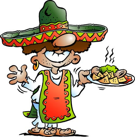 latin american boy: Vector Cartoon illustration of a Happy Mexican standing with some Tarco Food